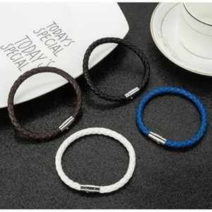 Mens 4pc. Braided Leather Magnetic Wristband